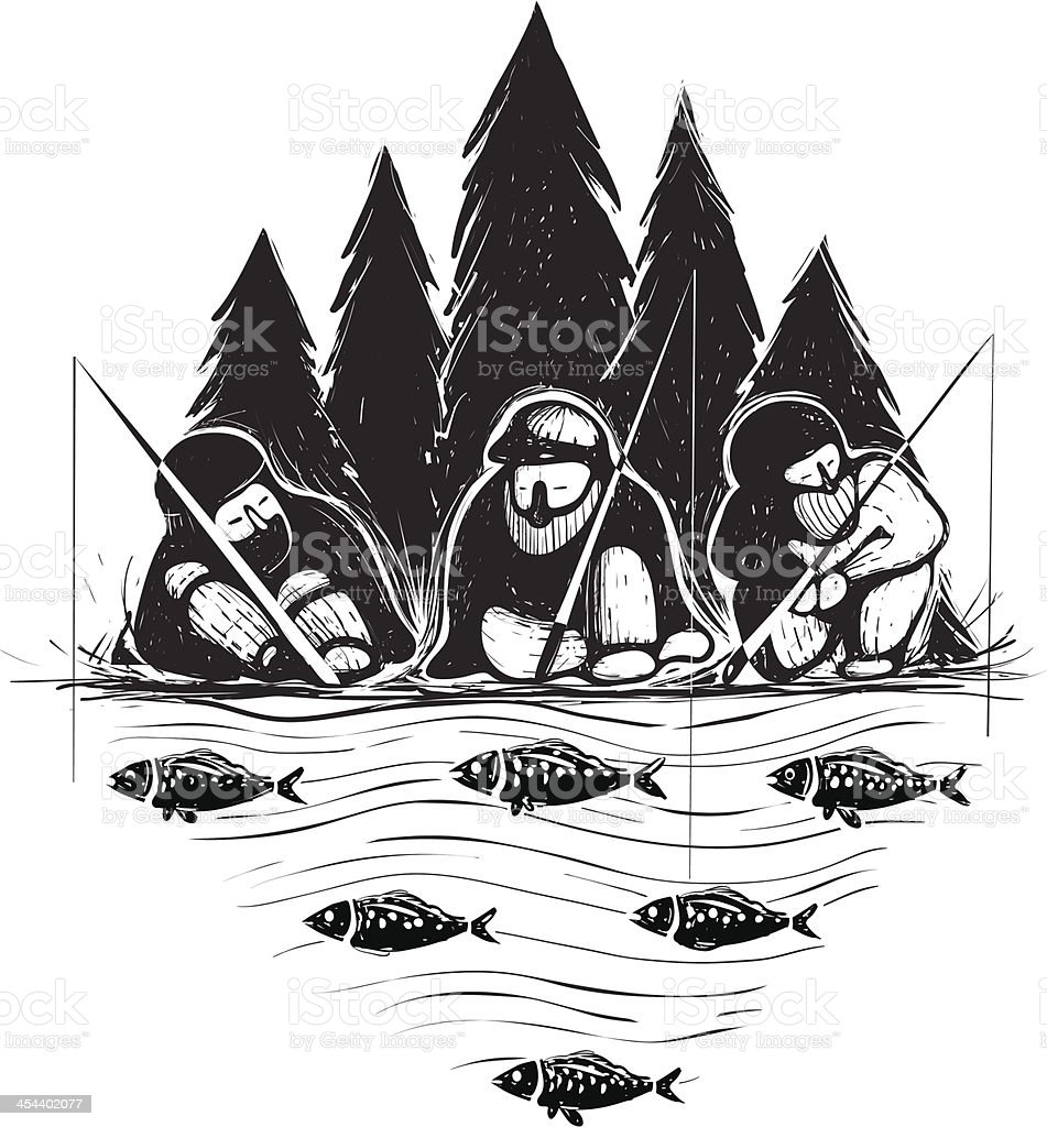 Three Fisherman Sitting on River Bank with Rods royalty-free stock vector art