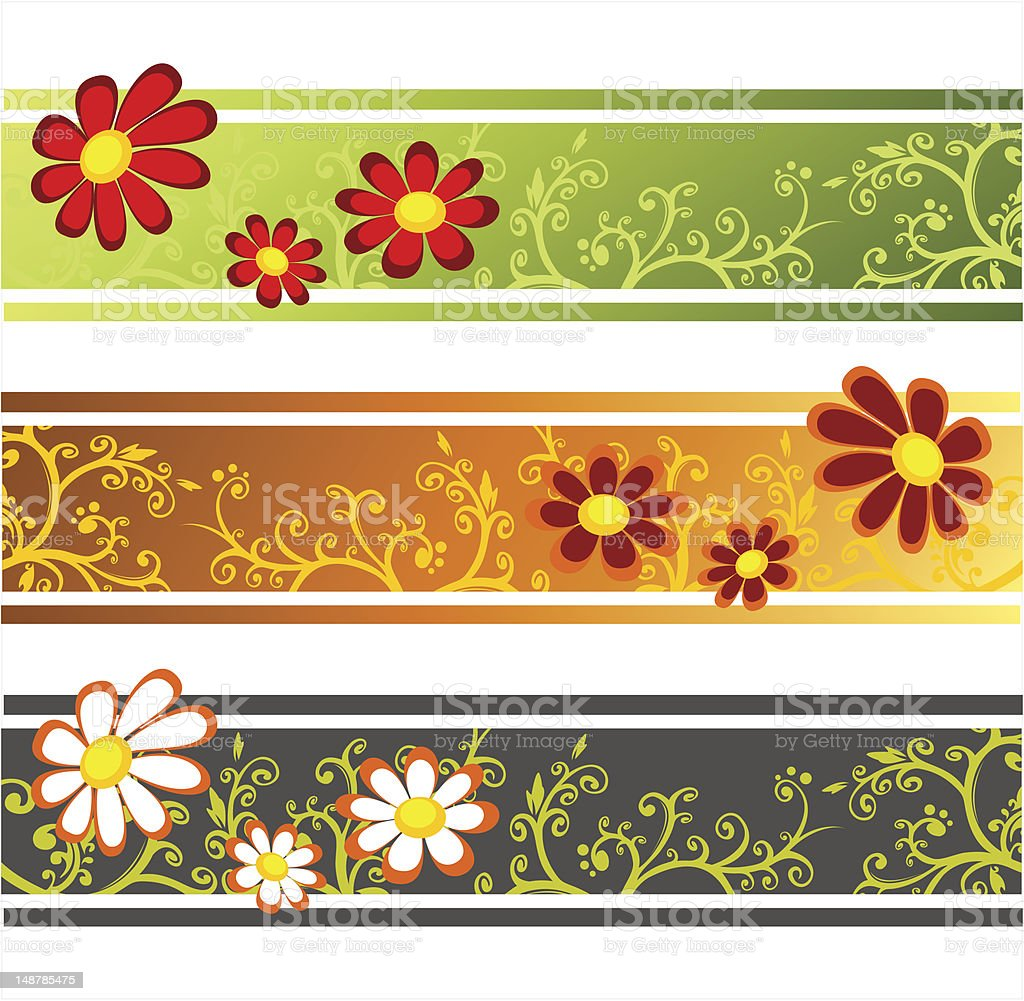 three flower strips royalty-free stock vector art
