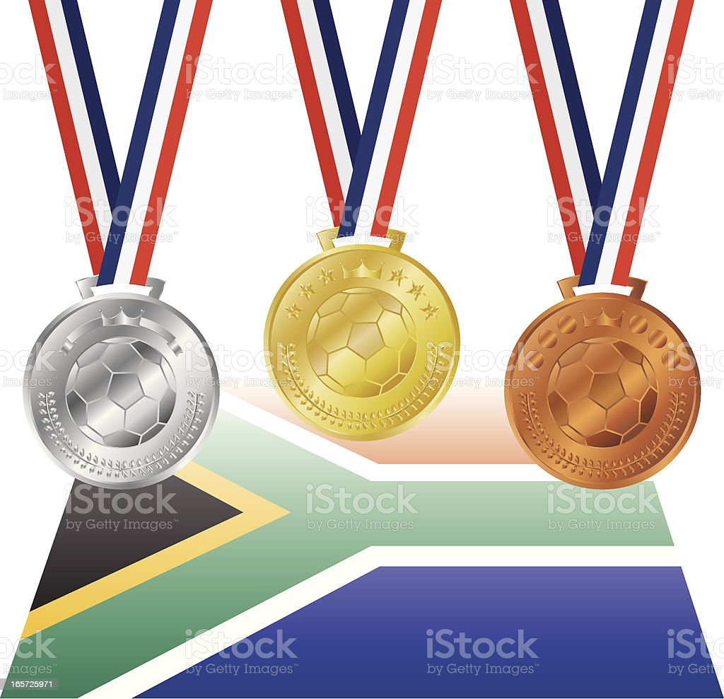 Three Football Soccer Medals royalty-free stock vector art