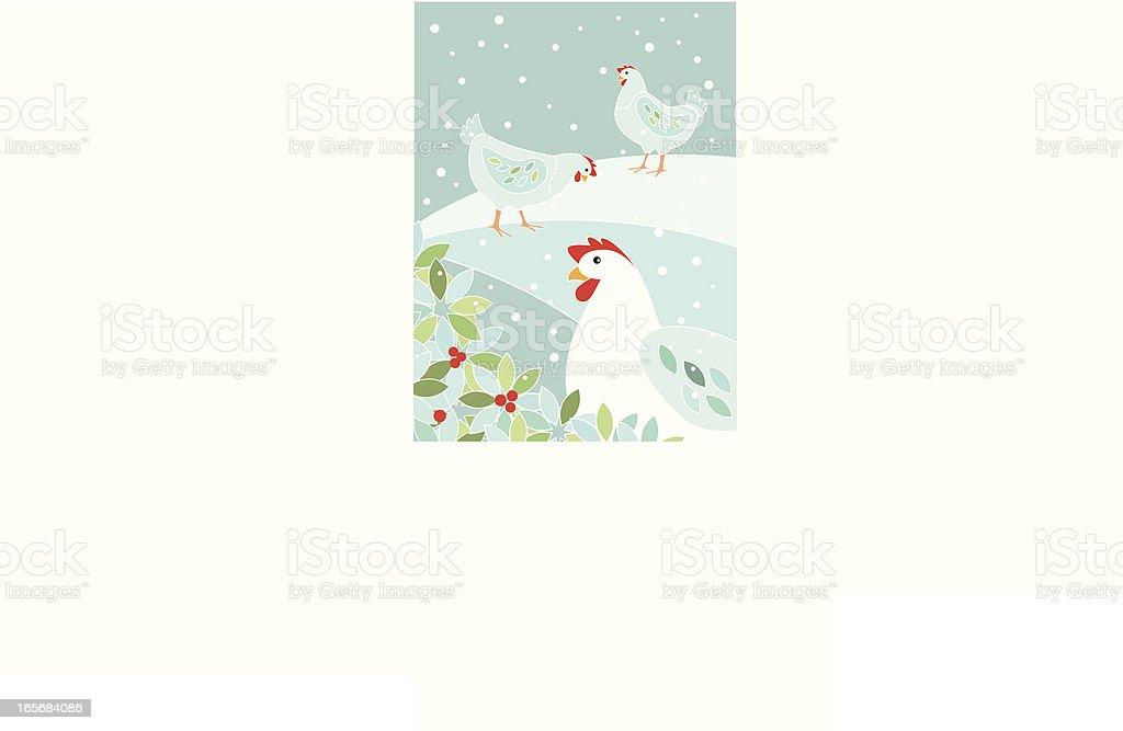 Three French Hens royalty-free stock vector art