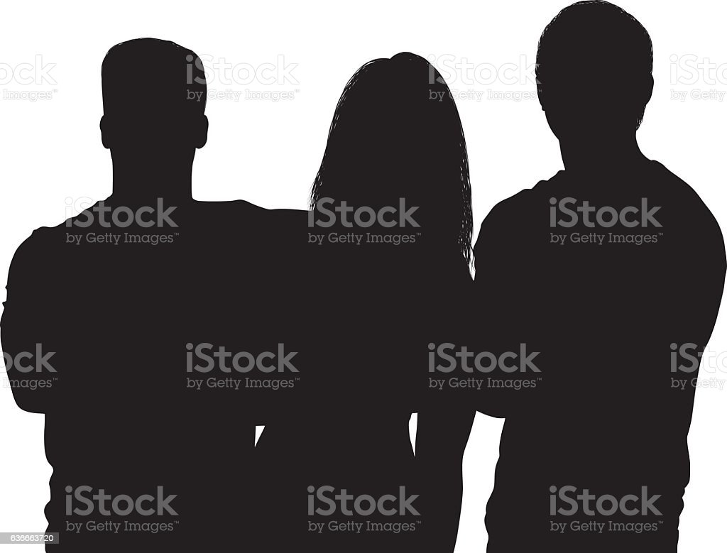Three friends standing together vector art illustration