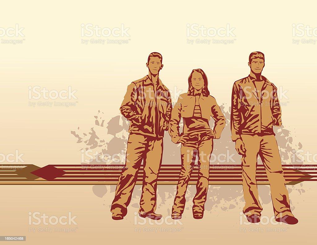 Three Friends royalty-free stock vector art