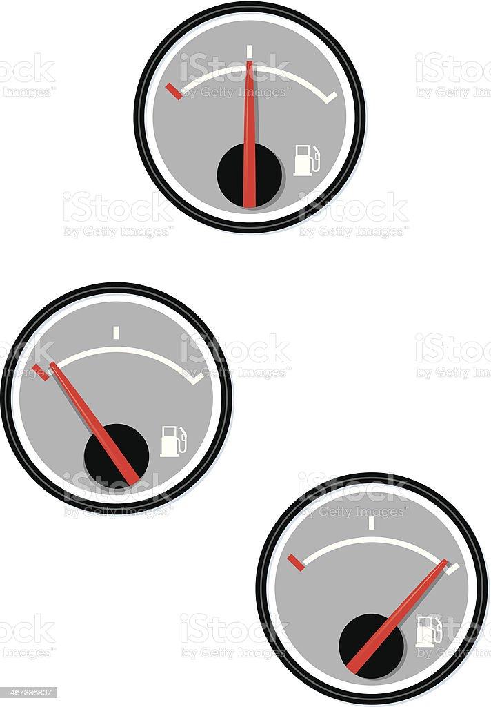 Three fuel gauge designs on a white background vector art illustration