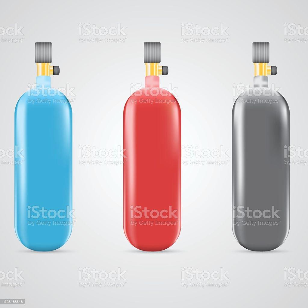 Three gas cylinders vector art illustration