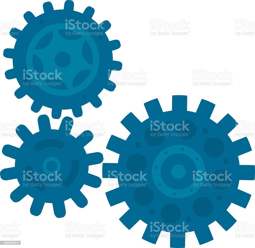 Three Gears vector art illustration