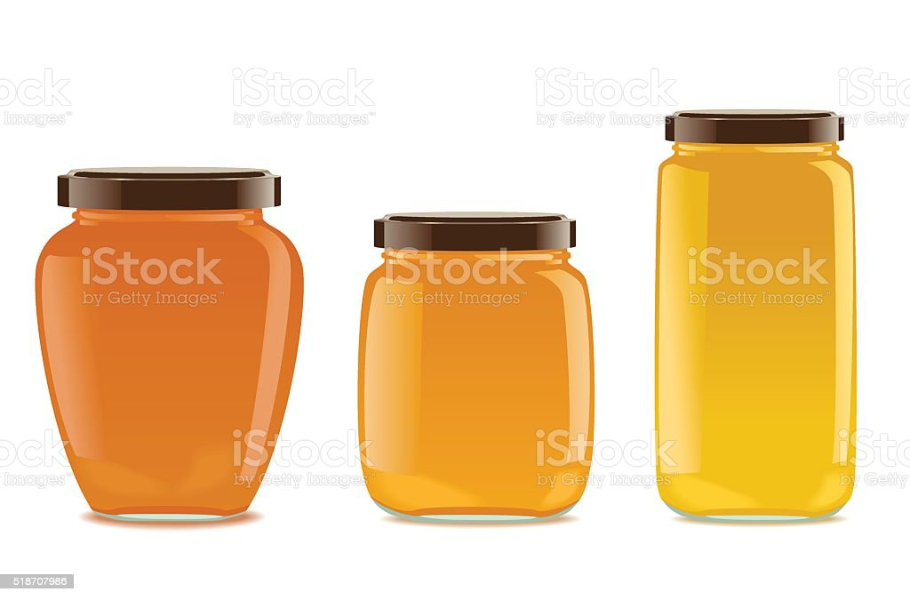 Three glass jars with jam or honey vector art illustration