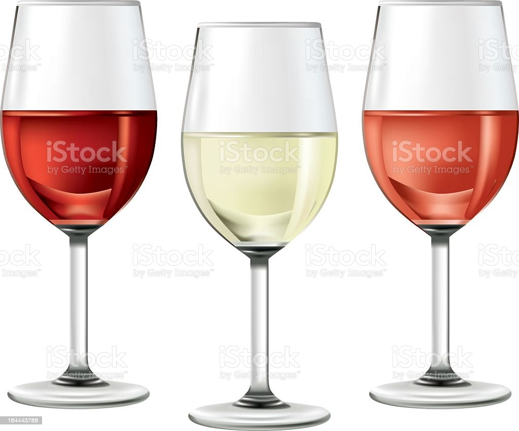 three glasses of wine royalty-free stock vector art
