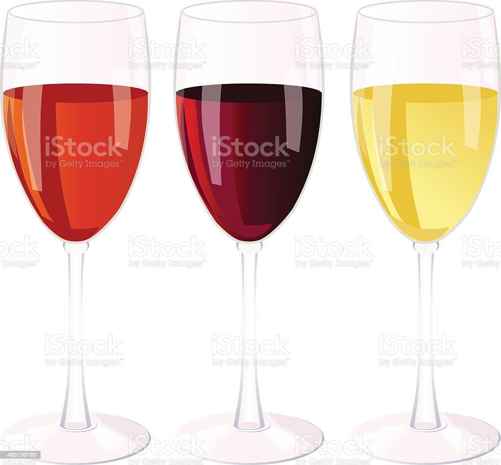 Three glasses of wine. vector art illustration