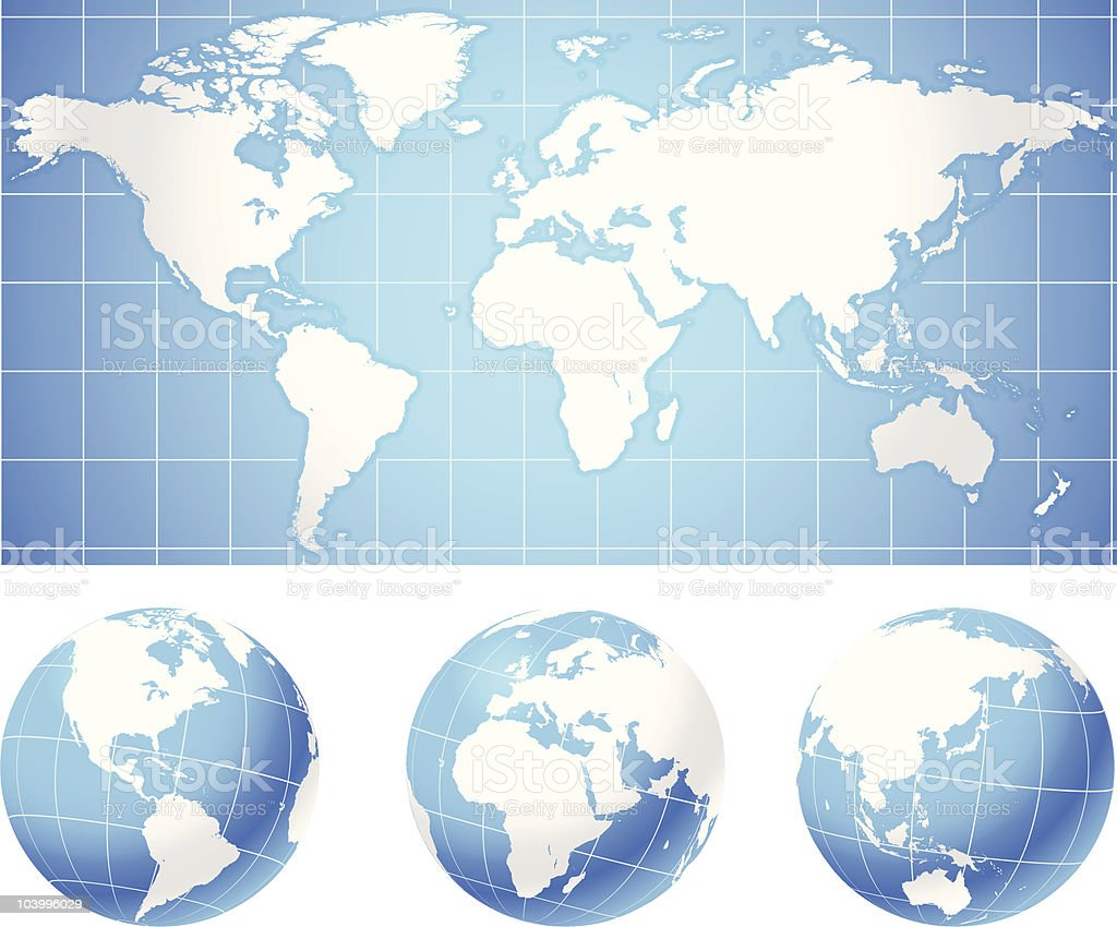Three globes with a world map in the background vector art illustration