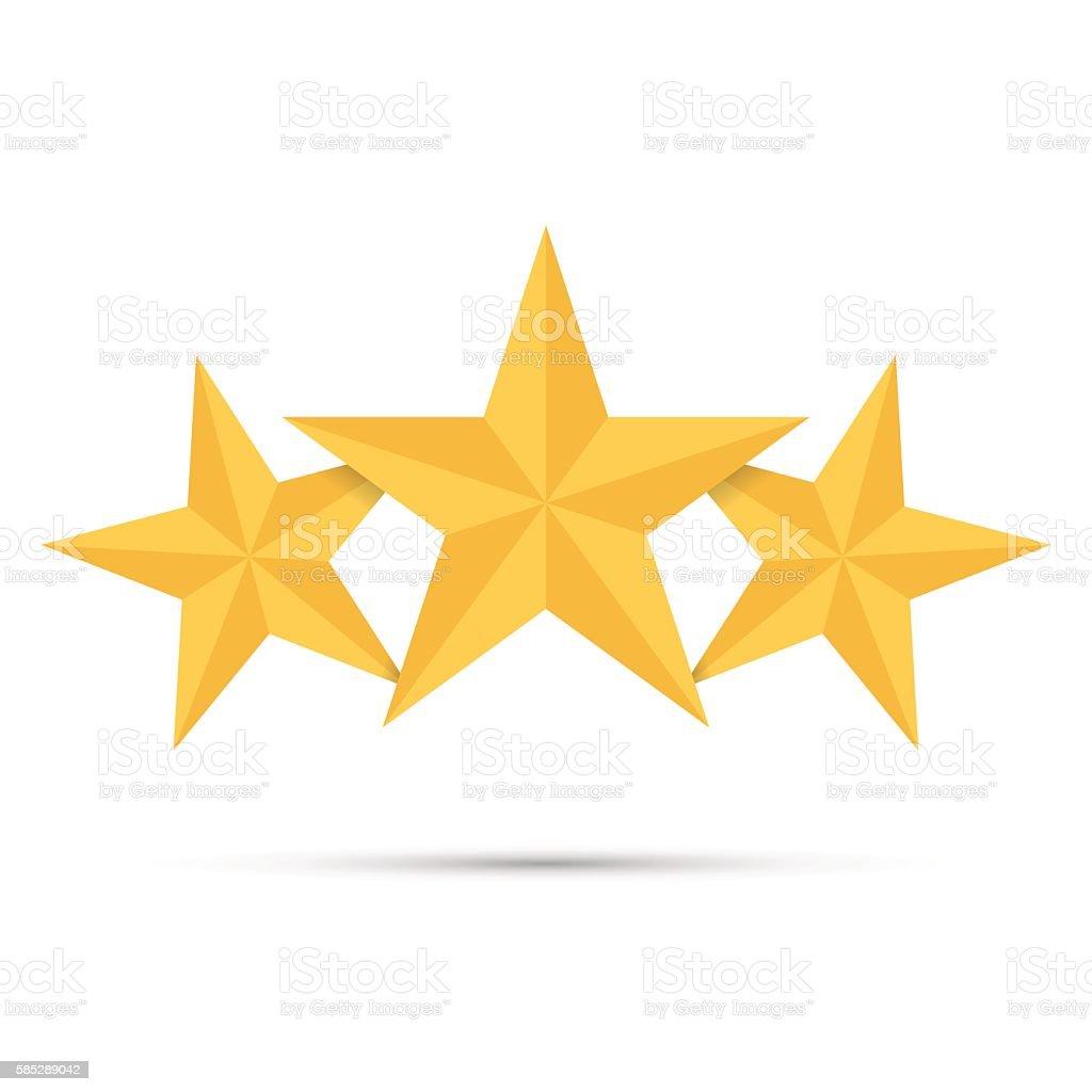 Three gold stars. Award winner. Best reward. vector art illustration