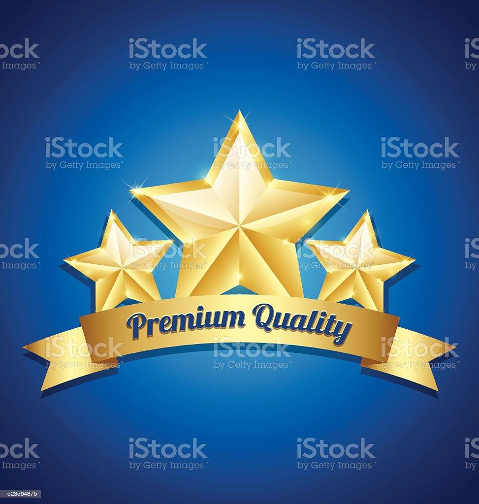 Three golden stars symbol vector art illustration