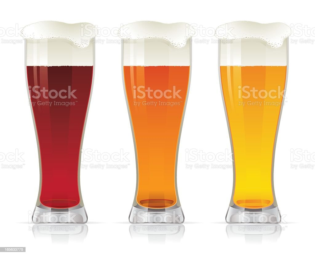 Three graphics of different types of beer royalty-free stock vector art