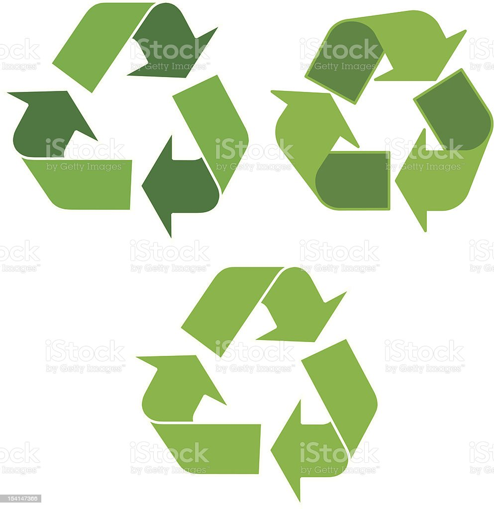 Three green chasing arrows recycle images on white royalty-free stock vector art