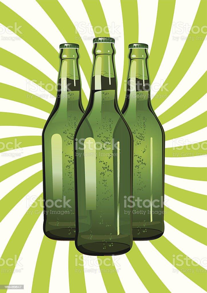 three green glass bottles royalty-free stock vector art