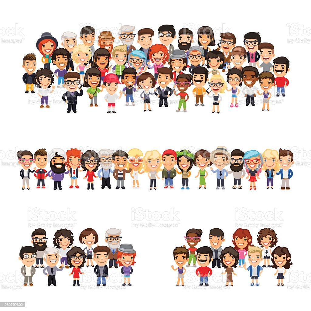 Three Group of People vector art illustration