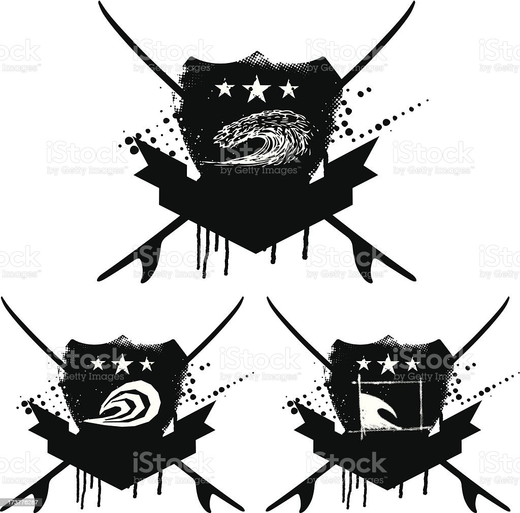 three grunge surf shields royalty-free stock vector art