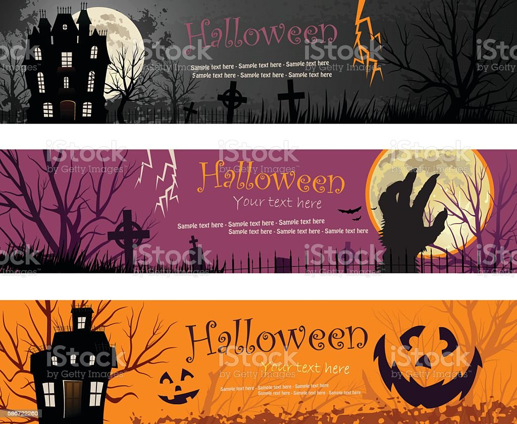 Three Halloween Banners vector illustration copy space vector art illustration