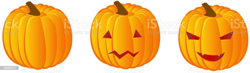 Three halloween pumpkins royalty-free stock vector art
