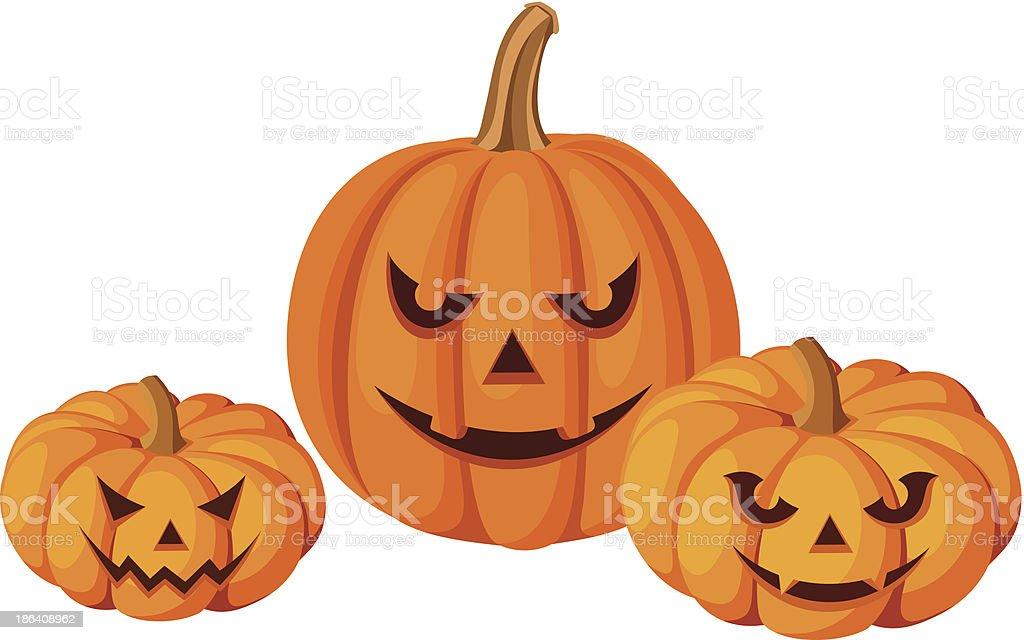 Three Halloween pumpkins (Jack-O-Lanterns). Vector illustration. royalty-free stock vector art