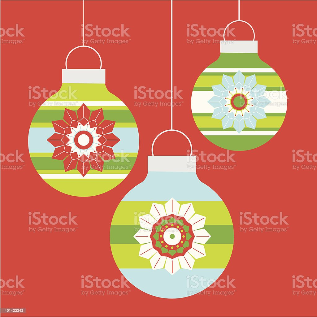 Three Hanging Christmas Baubles royalty-free stock vector art