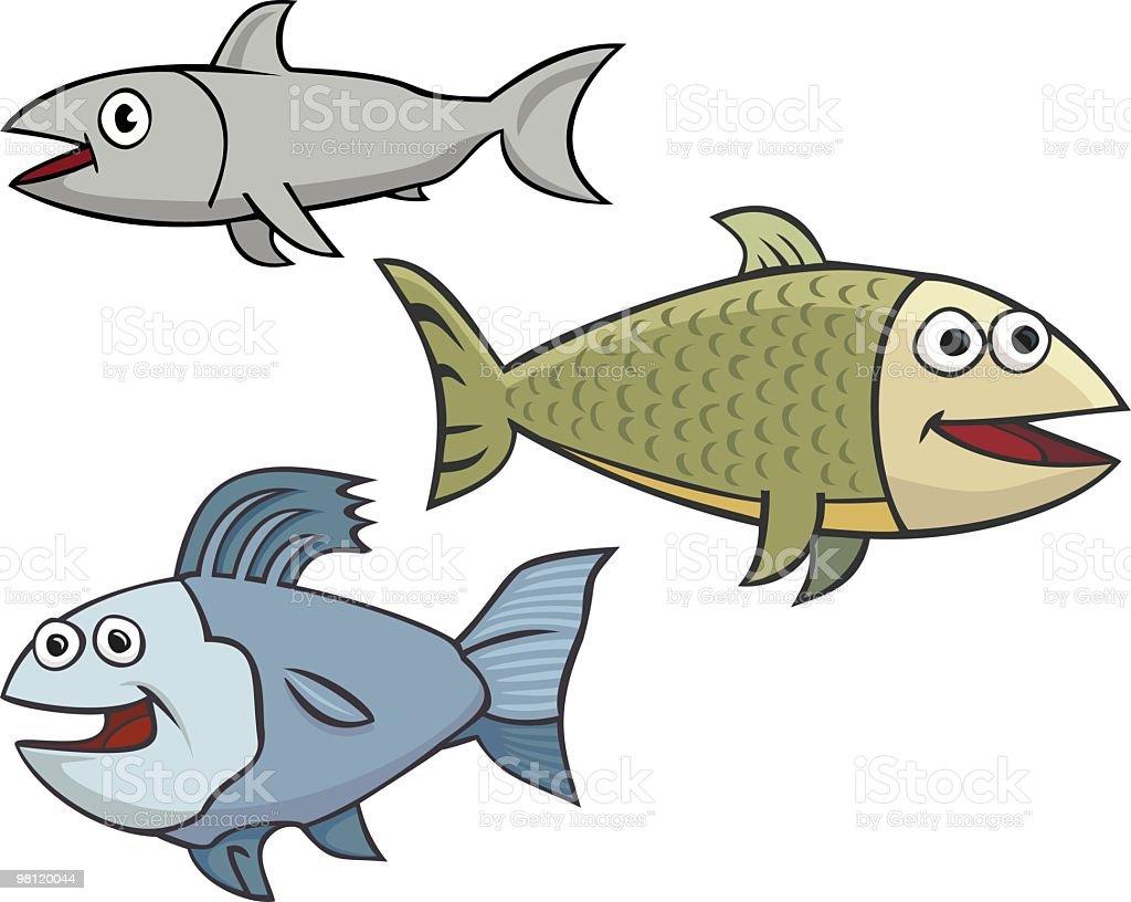 three happy fish vector art illustration
