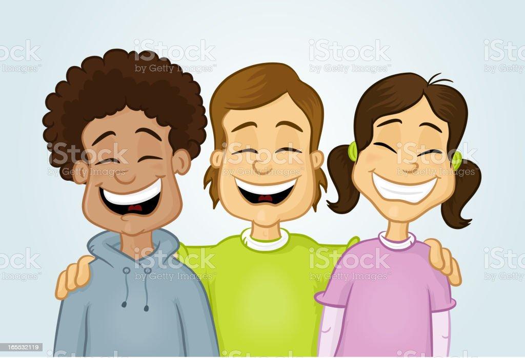 Three Happy Friends royalty-free stock vector art
