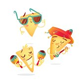 Three happy nachos characters playing Mexican music instruments