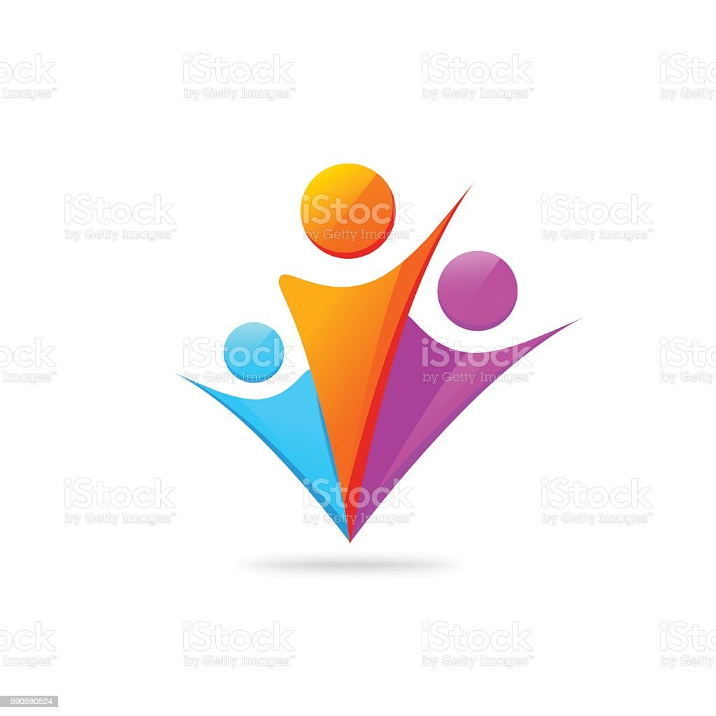 Three happy people with hands together logo template isolated vector art illustration