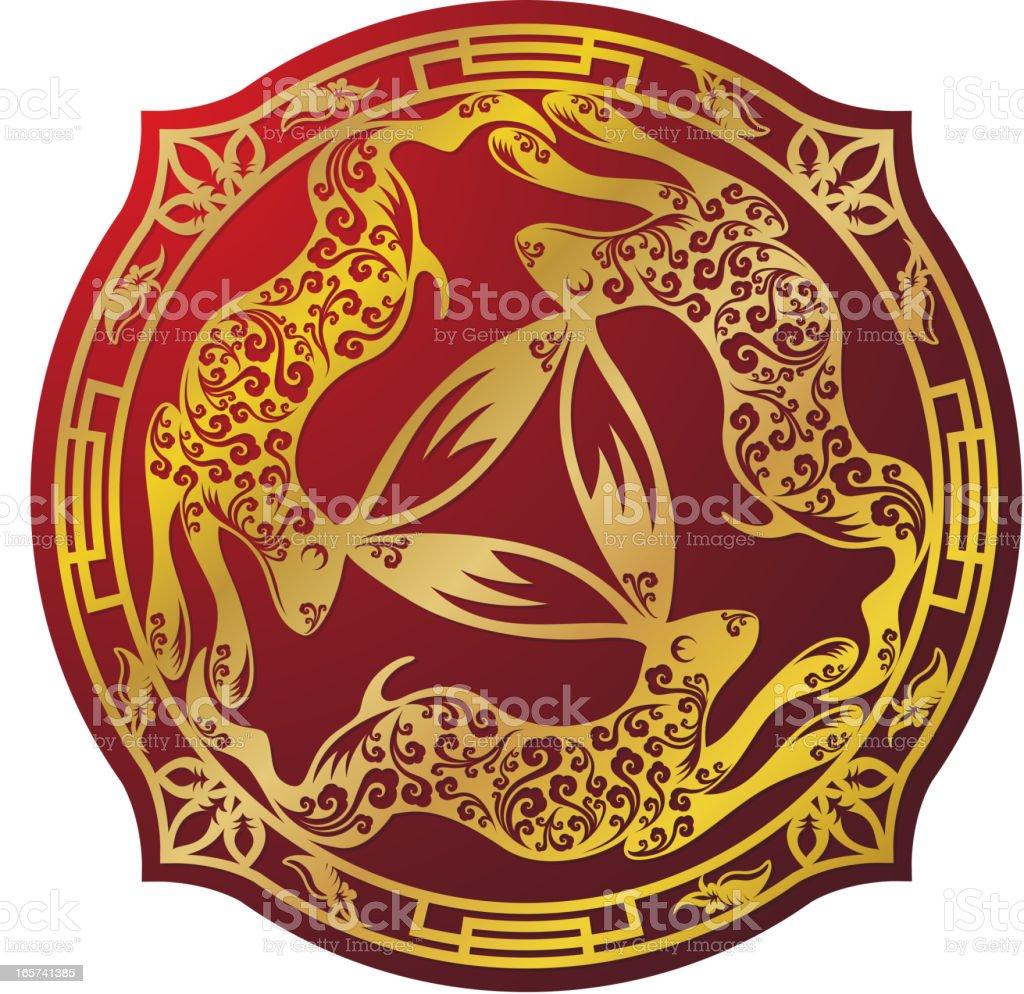 Three Hares Motif Golden Art Symbol royalty-free stock vector art