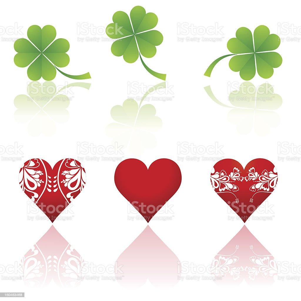 three hearts and  shamrocks royalty-free stock vector art