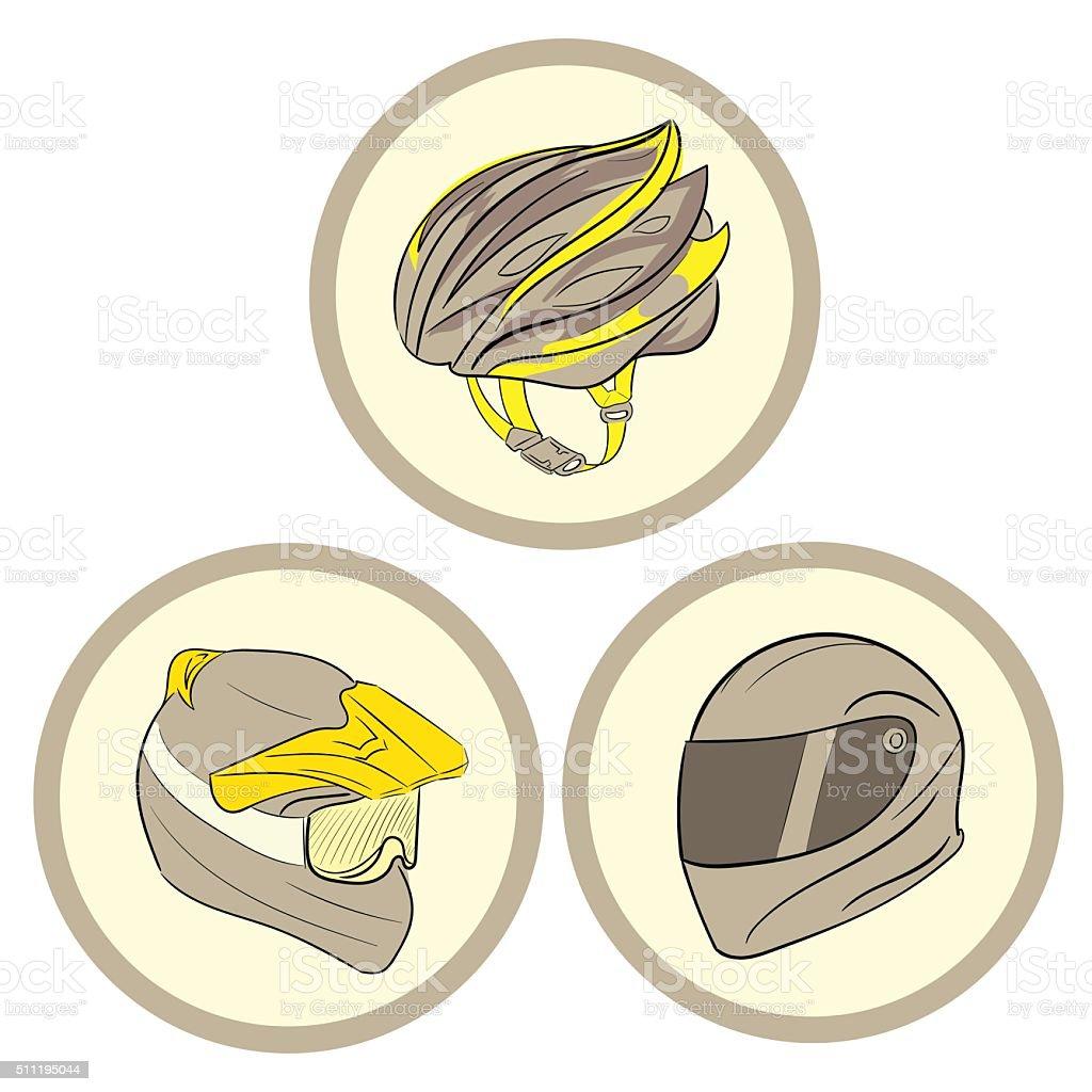 Three helmets in circles vector art illustration