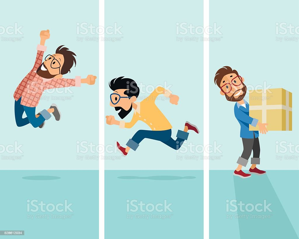 Three hipster in situation vector art illustration