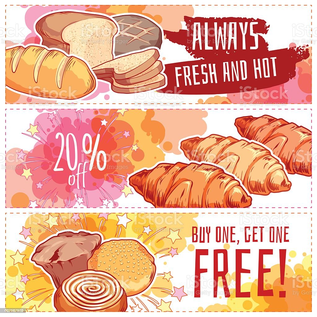 Three horizontal banners with bakery products. vector art illustration