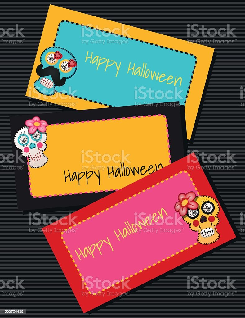 Three horizontal cards with fabric skulls vector art illustration