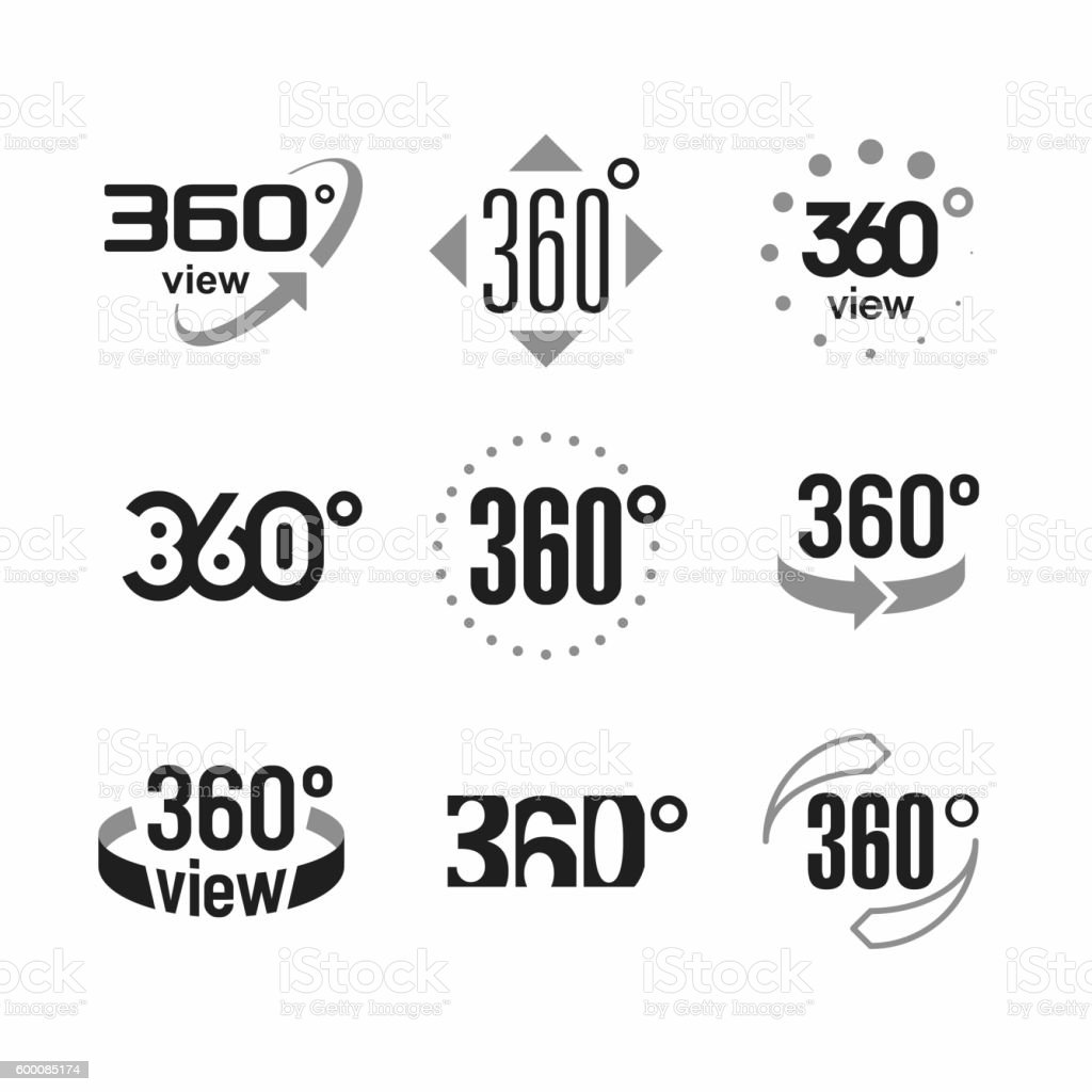 Three hundred sixty degrees view sign vector art illustration