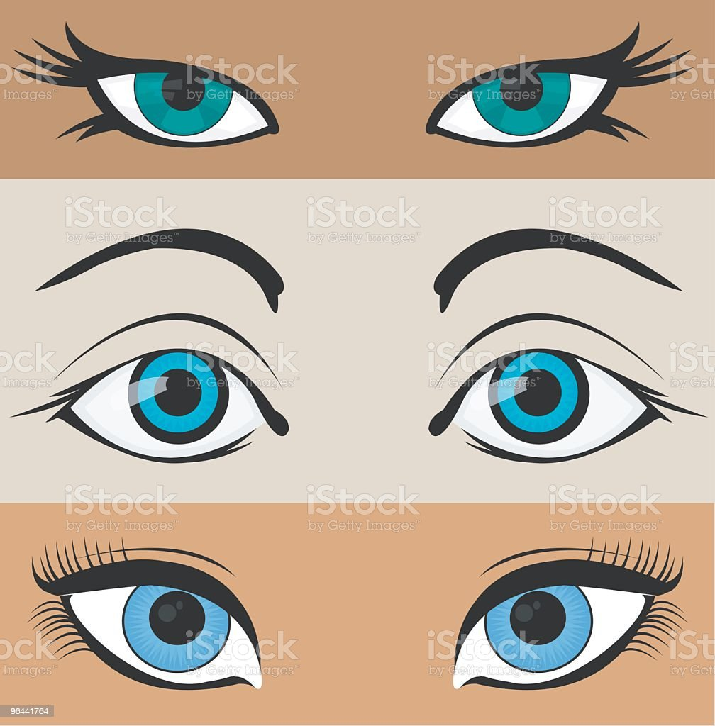 Three illustrated pairs of eyes royalty-free stock vector art
