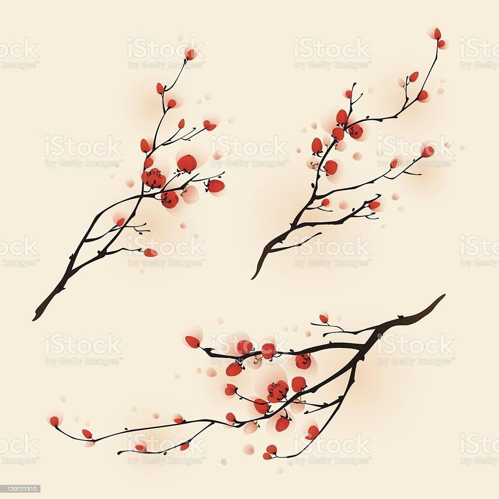 Three illustrations in oriental style plum blossom painting royalty-free stock vector art