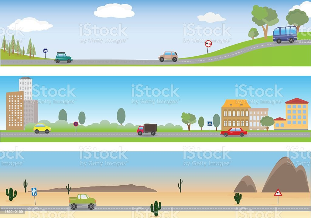 Three illustrations of a road in a different settings vector art illustration
