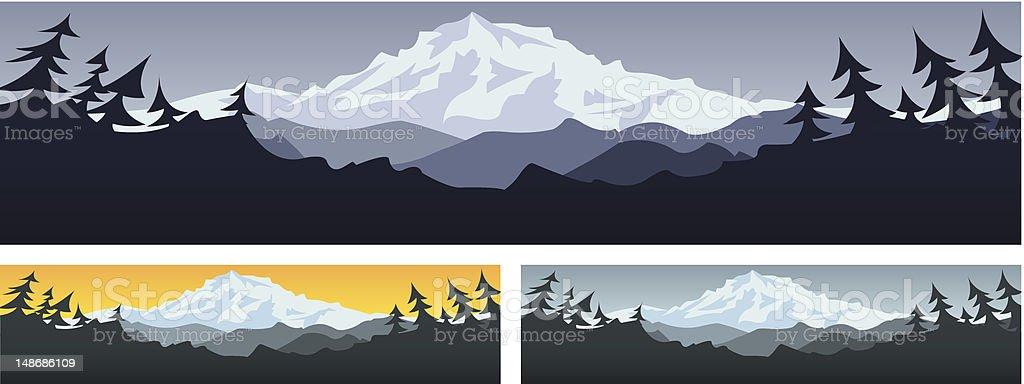 Three illustrations of mountain scenery vector art illustration