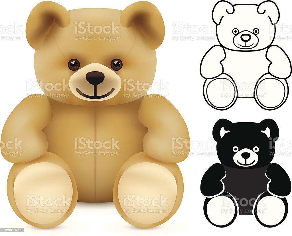 Three illustrations of teddy bears vector art illustration