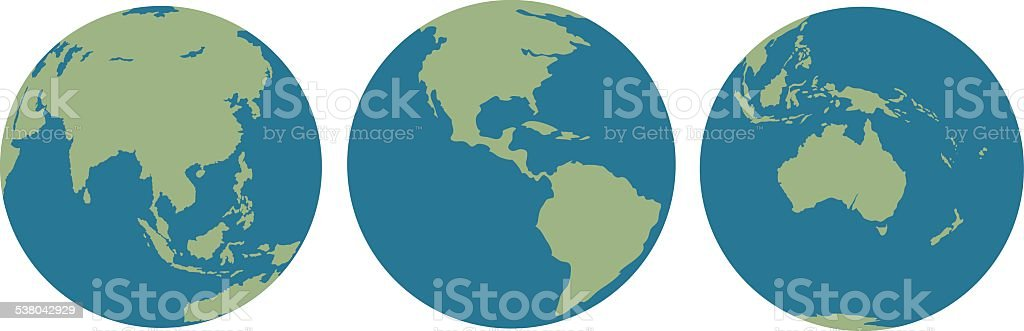 Three images of Earth vector art illustration