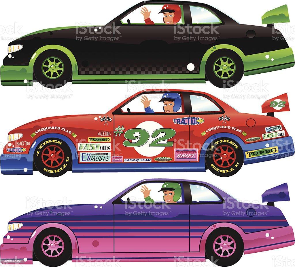 Three Indy race cars plus drivers vector art illustration