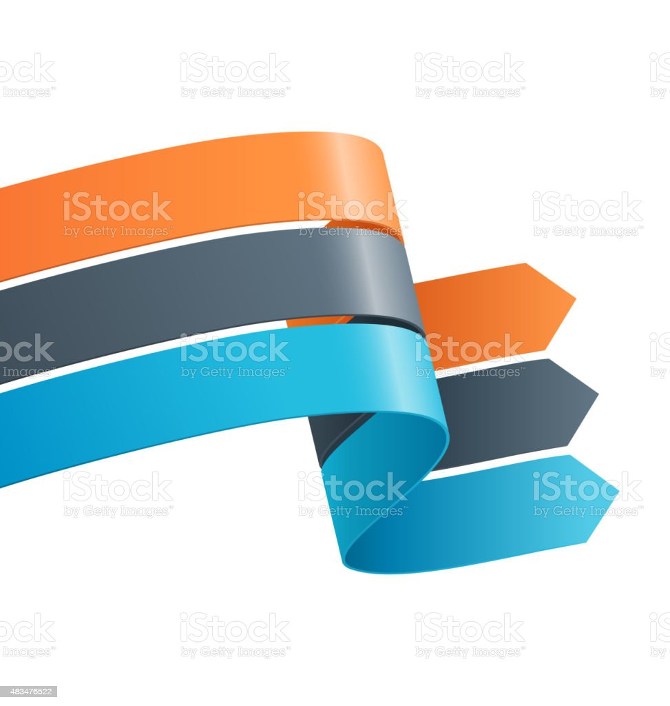 Three Infographic Elements Ribbons Arrows Isolated on White vector art illustration