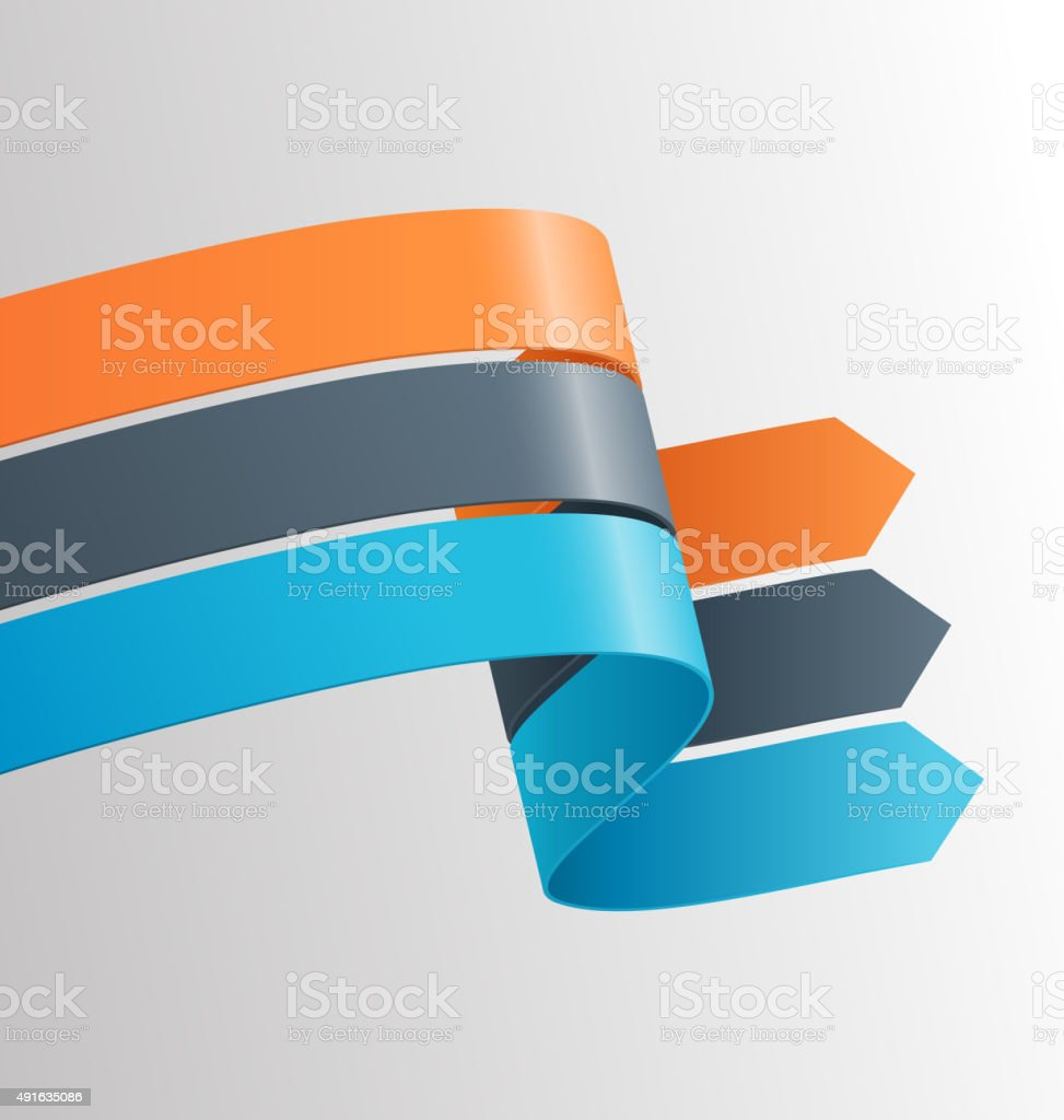 Three Infographic Elements Ribbons Arrows on Grayscale vector art illustration