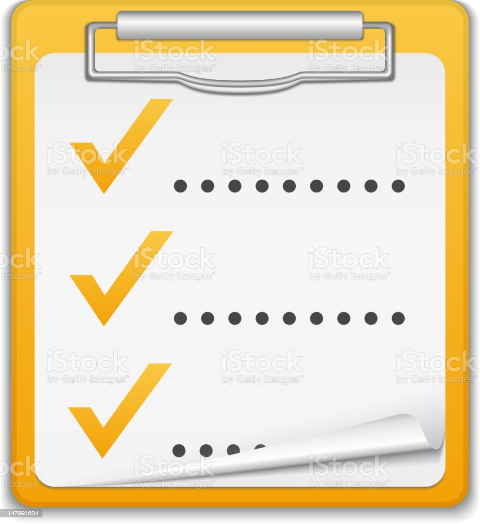 A three item checklist on a clipboard royalty-free stock vector art