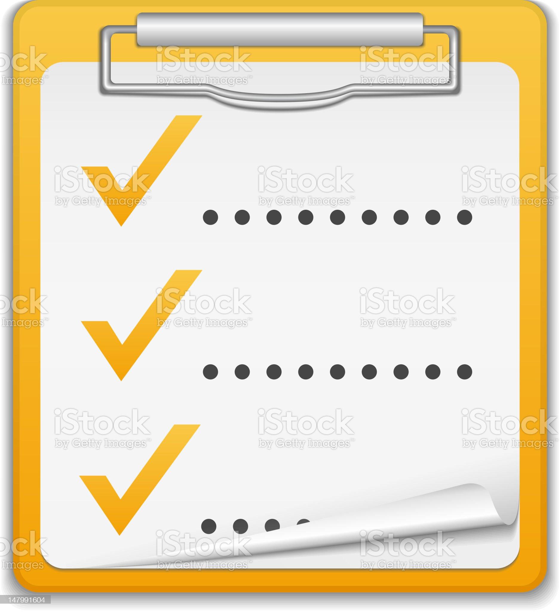 A three item checklist on a clipboard royalty-free stock vector art