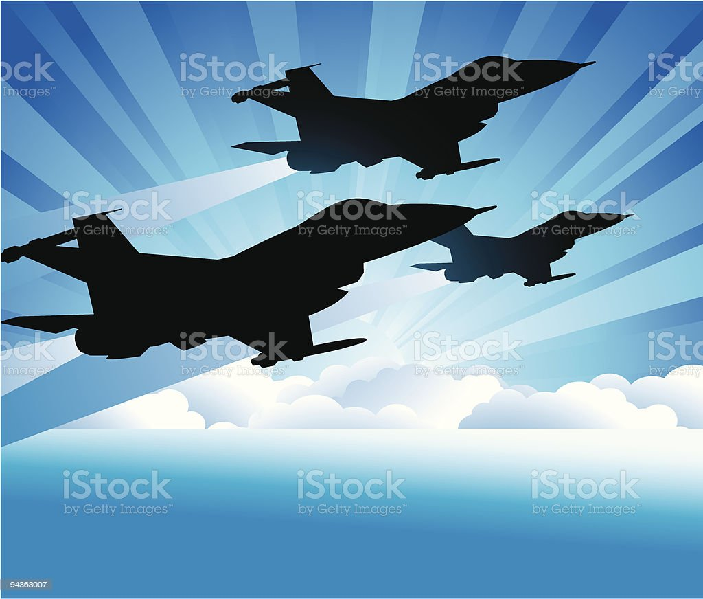 Three Jets vector art illustration