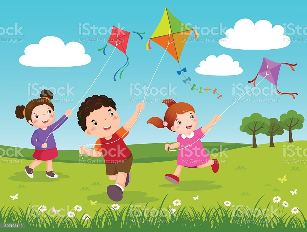 Three kids flying kites in the park vector art illustration