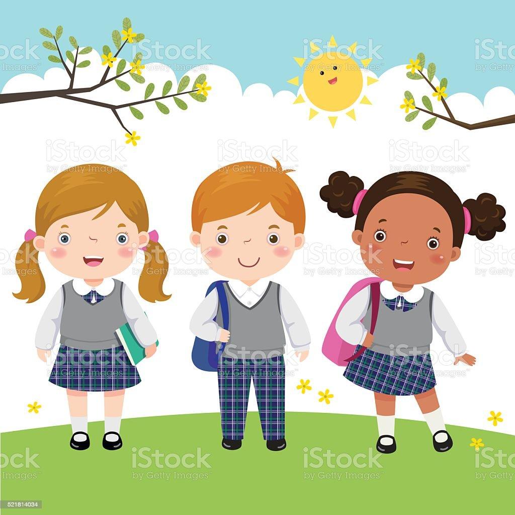 Three kids in school uniform going to school vector art illustration