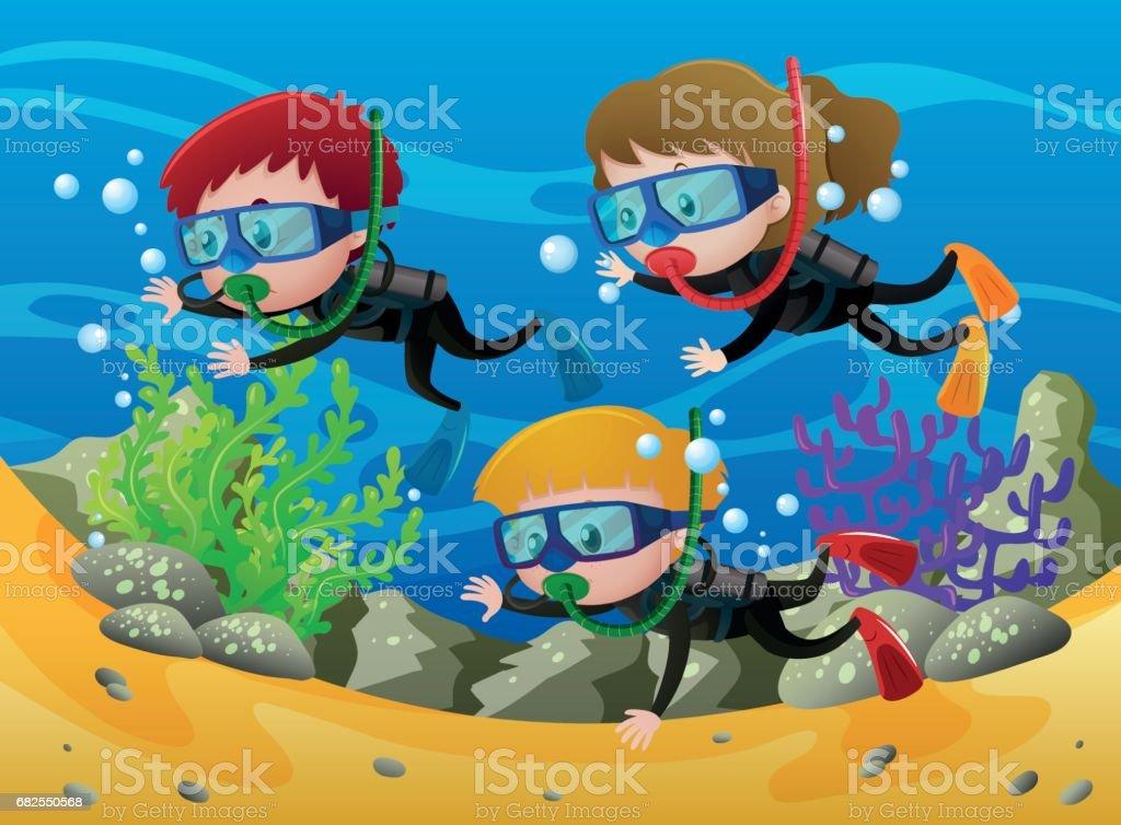 Three kids scuba diving under the sea vector art illustration